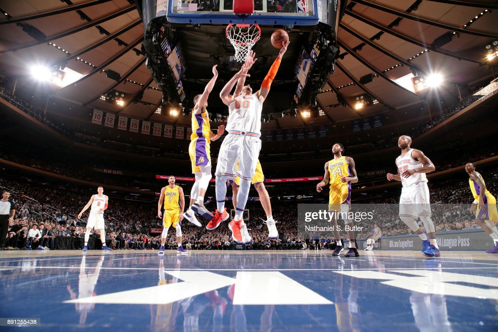 Enes Kanter #00 of the New York Knicks shoots the ball during the game against the Los Angeles Lakers on December 12, 2017 at Madison Square Garden in New York, New York.