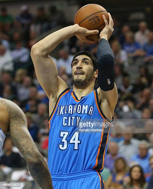 Enes Kanter of the Oklahoma City Thunder at American Airlines Center on March 16 2015 in Dallas Texas NOTE TO USER User expressly acknowledges and...