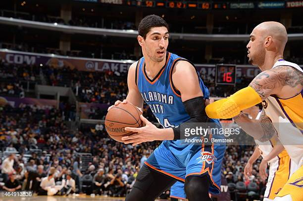 Enes Kanter of the Oklahoma City Thunder handles the ball against the Los Angeles Lakers on March 1 2015 at Staples Center in Los Angeles California...