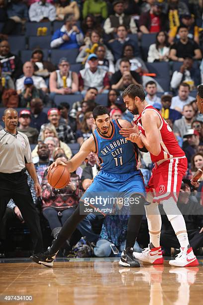 Enes Kanter of the Oklahoma City Thunder handles the ball against the Memphis Grizzlies on November 16 2015 at FedExForum in Memphis Tennessee NOTE...
