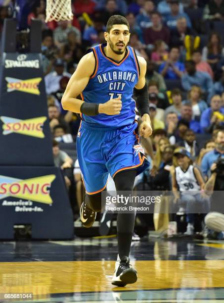 Enes Kanter of the Oklahoma City Thunder plays against the Memphis Grizzlies during a 103100 Thunder victory at FedExForum on April 5 2017 in Memphis...