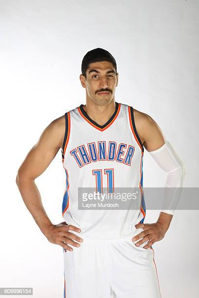Enes Kanter of the Oklahoma City Thunder poses for a portrait during 2016 NBA Media Day on September 23 2016 at the Chesapeake Energy Arena in...