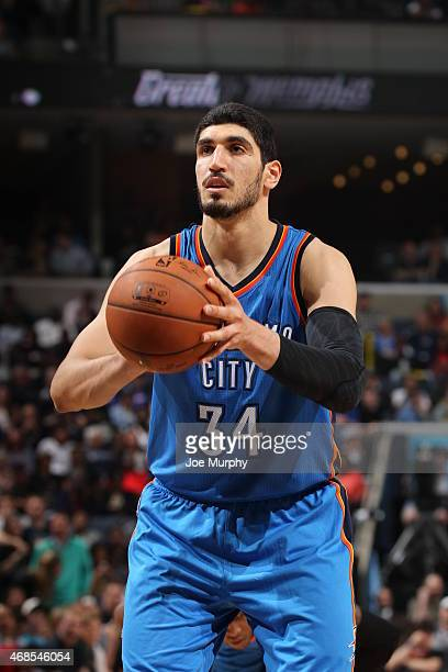 Enes Kanter of the Oklahoma City Thunder prepares to shoot a free throw against the Memphis Grizzlies on April 3 2015 at FedExForum in Memphis...