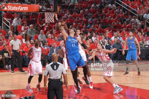 Enes Kanter of the Oklahoma City Thunder shoots a lay up against the Houston Rockets in Game Five of the Western Conference Quarterfinals of the 2017...