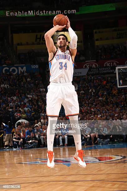 Enes Kanter of the Oklahoma City Thunder shoots against the Sacramento Kings on April 10 2015 at the Chesapeake Energy Arena in Oklahoma City...