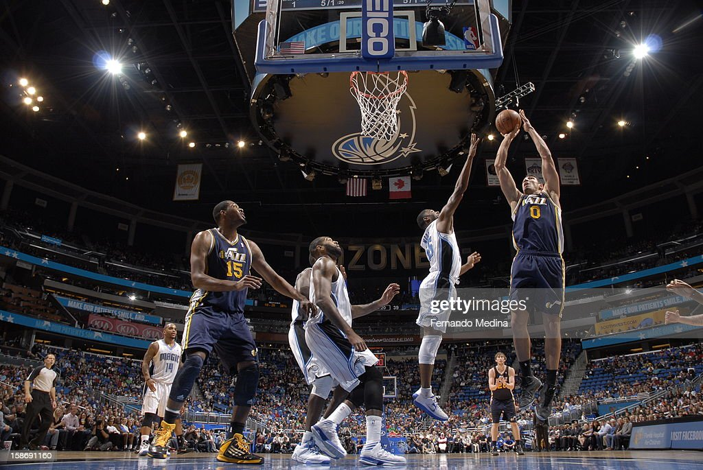 <a gi-track='captionPersonalityLinkClicked' href=/galleries/search?phrase=Enes+Kanter&family=editorial&specificpeople=5621416 ng-click='$event.stopPropagation()'>Enes Kanter</a> #0 of the Utah Jazz attempts to bank one off the glass against the Orlando Magic during the game on December 23, 2012 at Amway Center in Orlando, Florida.