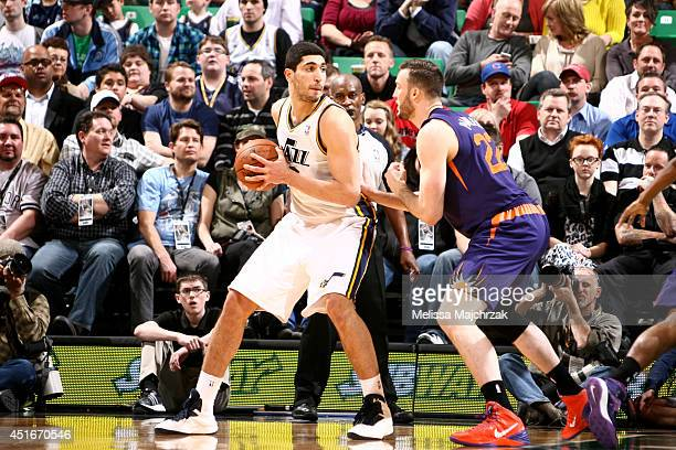 Enes Kanter of the Utah Jazz controls the ball against the Phoenix Suns at EnergySolutions Arena on February 26 2014 in Salt Lake City Utah NOTE TO...