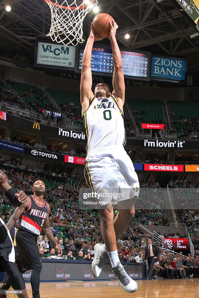 <a gi-track='captionPersonalityLinkClicked' href=/galleries/search?phrase=Enes+Kanter&family=editorial&specificpeople=5621416 ng-click='$event.stopPropagation()'>Enes Kanter</a> #0 of the Utah Jazz dunks against the Portland Trail Blazers at Energy Solutions Arena on October 16, 2013 in Salt Lake City, Utah.