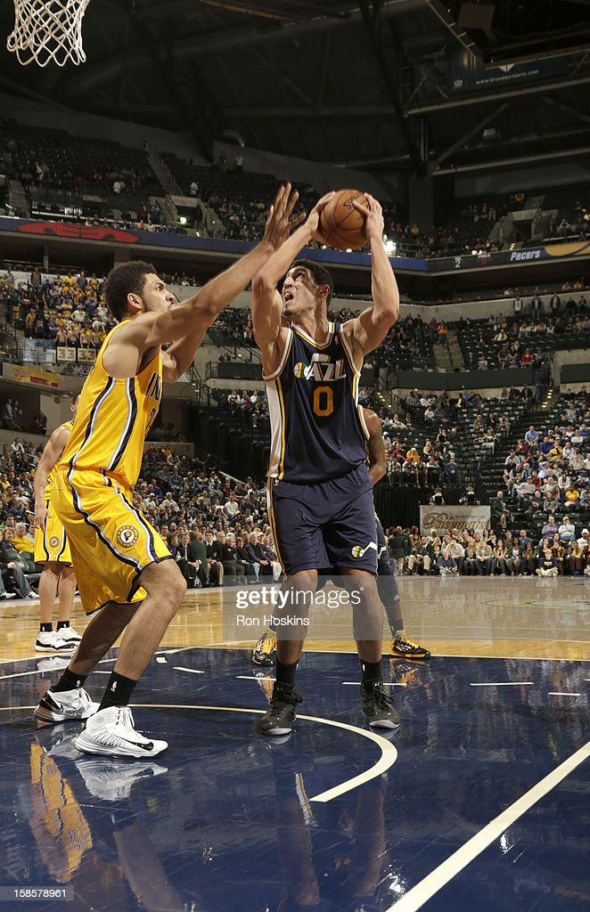 Enes Kanter #0 of the Utah Jazz goes to the basket during the game between the Indiana Pacers and the Utah Jazz on December 19, 2012 at Bankers Life Fieldhouse in Indianapolis, Indiana.