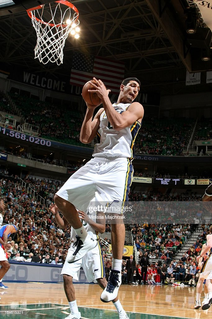 <a gi-track='captionPersonalityLinkClicked' href=/galleries/search?phrase=Enes+Kanter&family=editorial&specificpeople=5621416 ng-click='$event.stopPropagation()'>Enes Kanter</a> #0 of the Utah Jazz grabs a rebound against the Detroit Pistons on March 11, 2013 in Salt Lake City, Utah.