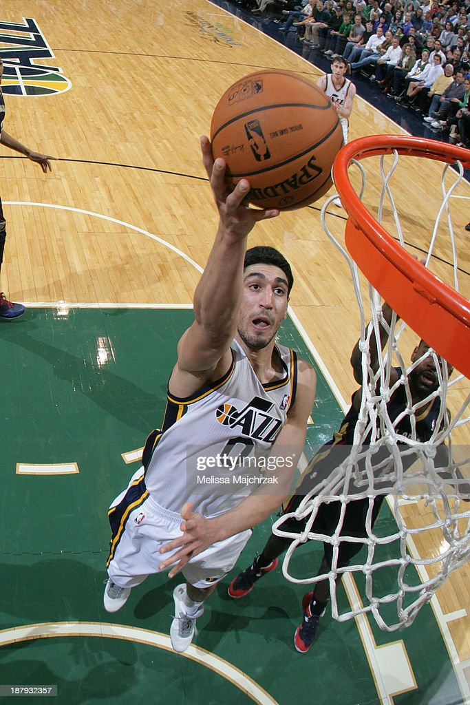 <a gi-track='captionPersonalityLinkClicked' href=/galleries/search?phrase=Enes+Kanter&family=editorial&specificpeople=5621416 ng-click='$event.stopPropagation()'>Enes Kanter</a> #0 of the Utah Jazz lays-up against the New Orleans Pelicans at EnergySolutions Arena on November 13, 2013 in Salt Lake City, Utah.