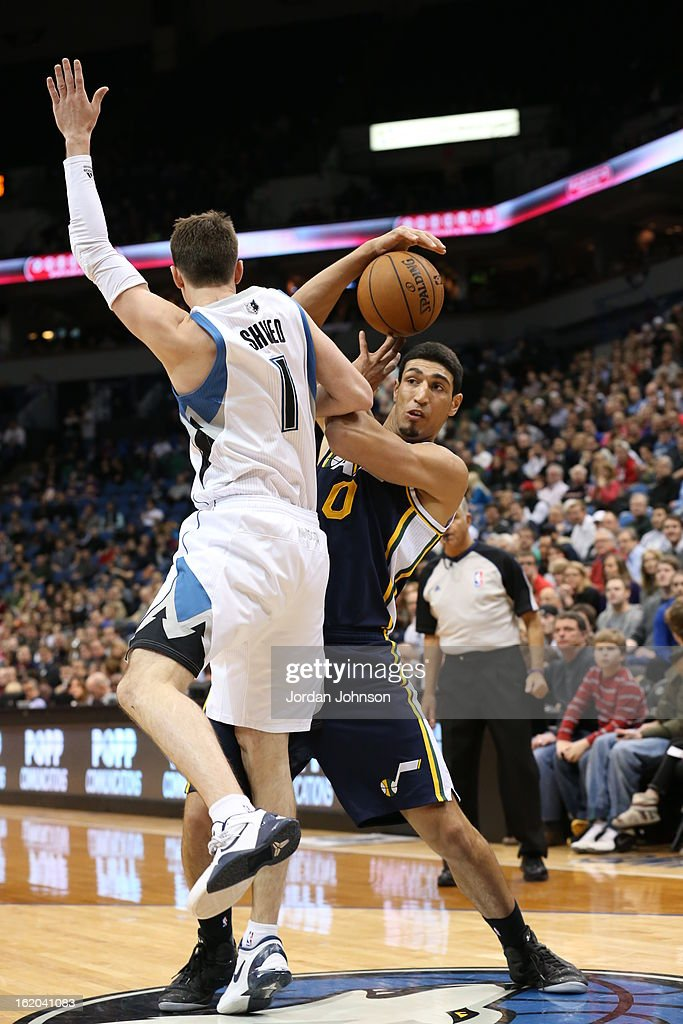 <a gi-track='captionPersonalityLinkClicked' href=/galleries/search?phrase=Enes+Kanter&family=editorial&specificpeople=5621416 ng-click='$event.stopPropagation()'>Enes Kanter</a> #0 of the Utah Jazz looks to pass the ball against the Minnesota Timberwolves on February 13, 2013 at Target Center in Minneapolis, Minnesota.