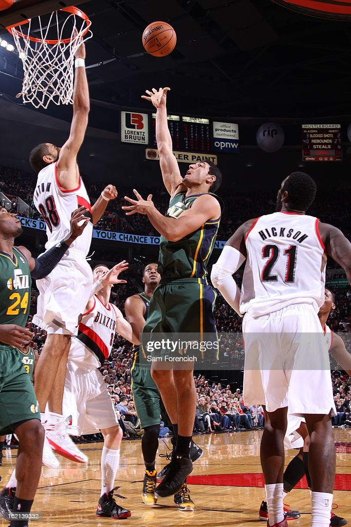 Enes Kanter #0 of the Utah Jazz puts up a shot against the Portland Trail Blazers on February 3, 2013 at the Rose Garden Arena in Portland, Oregon.