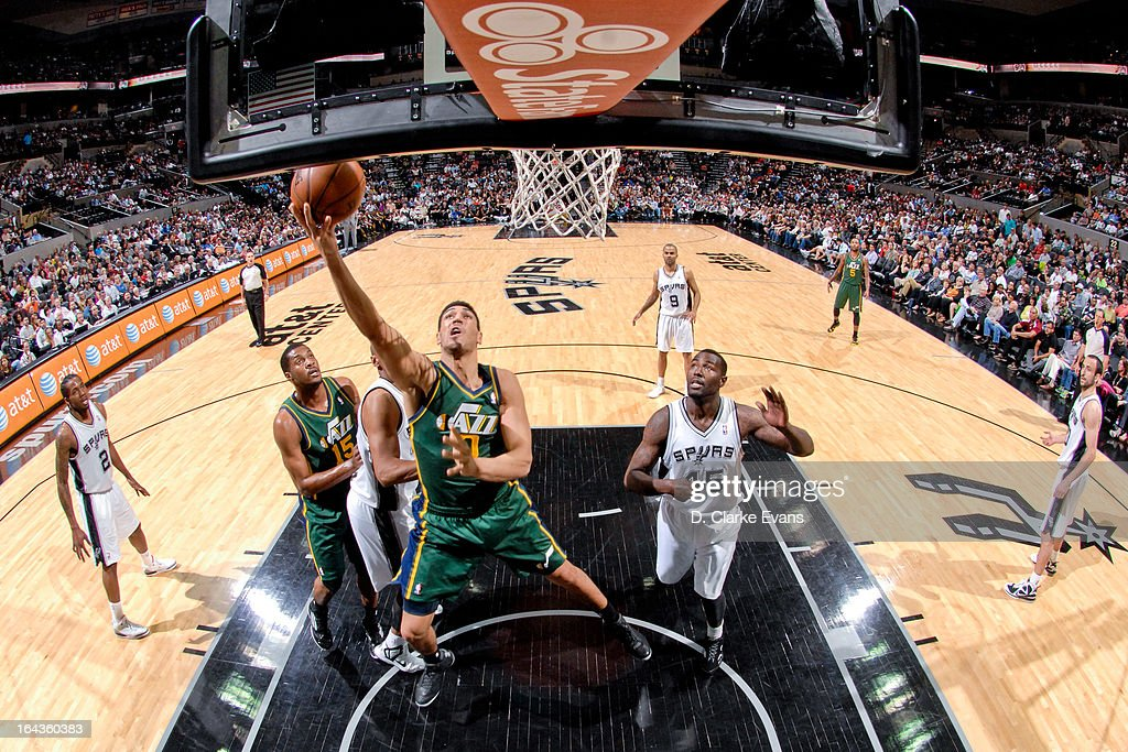 Enes Kanter #0 of the Utah Jazz shoots a layup against the San Antonio Spurs on March 22, 2013 at the AT&T Center in San Antonio, Texas.