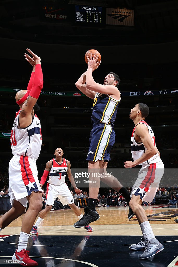 <a gi-track='captionPersonalityLinkClicked' href=/galleries/search?phrase=Enes+Kanter&family=editorial&specificpeople=5621416 ng-click='$event.stopPropagation()'>Enes Kanter</a> #0 of the Utah Jazz shoots against the Washington Wizards at the Verizon Center on March 5, 2014 in Washington, DC.