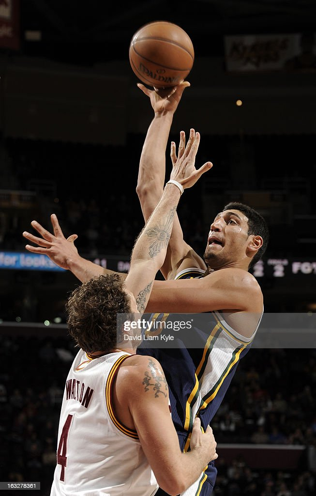 Enes Kanter #0 of the Utah Jazz shoots over Luke Walton #4 of the Cleveland Cavaliers at The Quicken Loans Arena on March 6, 2013 in Cleveland, Ohio.