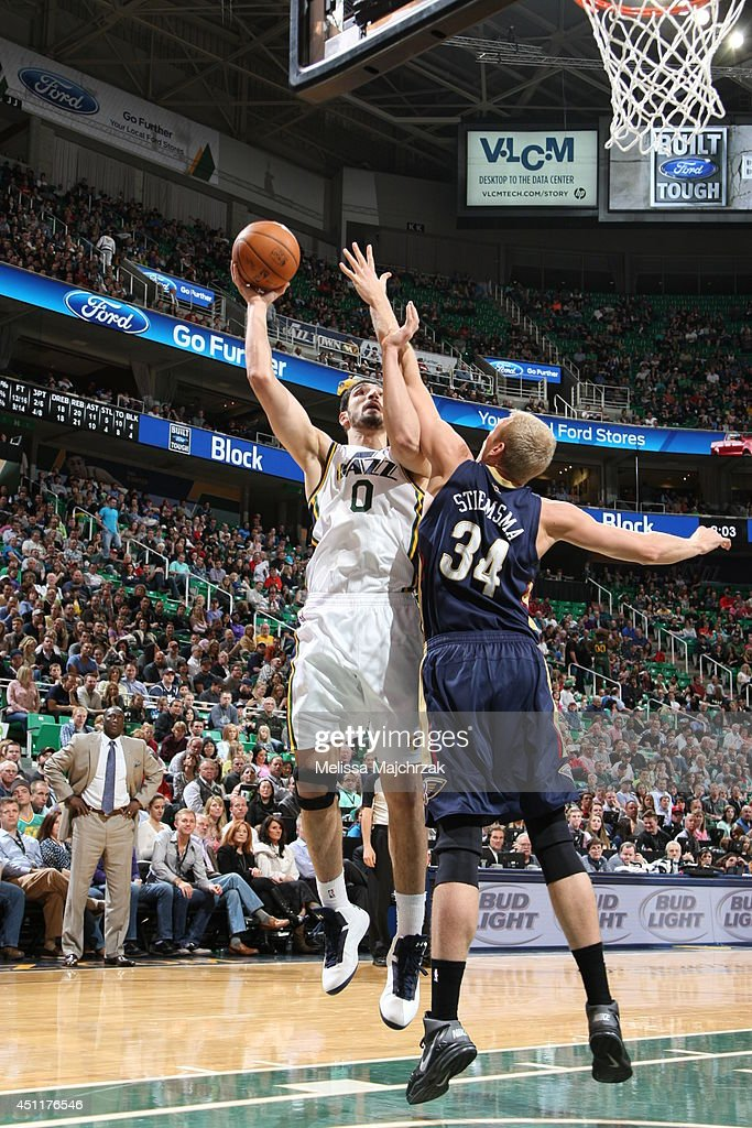 Enes Kanter #0 of the Utah Jazz takes a shot against the New Orleans Pelicans at EnergySolutions Arena on April 04, 2014 in Salt Lake City, Utah.