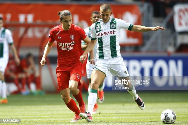 Enes Unal of FC Twente Jesper Drost of FC Groningenduring the Dutch Eredivisie match between FC Twente and FC Groningen at the Grolsch Veste on May...