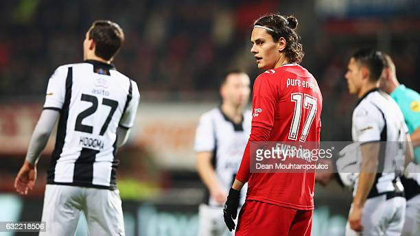 Enes Unal of FC Twente looks on during the Dutch Eredivisie match between FC Twente and Heracles Almelo held at De Grolsch Veste on January 20 2017...