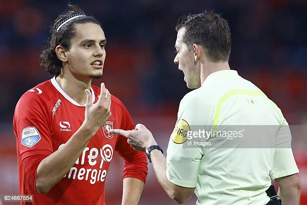 Enes Unal of FC Twente referee Lindhoutduring the Dutch Eredivisie match between FC Twente and FC Utrecht at the Grolsch Veste on November 20 2016 in...