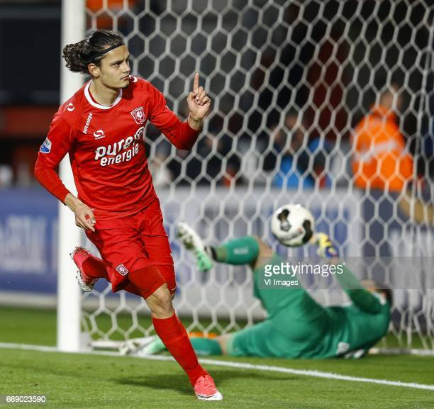 Enes Unal of FC Twente scored Joris Delle of NEC Nijmegenduring the Dutch Eredivisie match between FC Twente and NEC Nijmegen at the Grolsch Veste on...