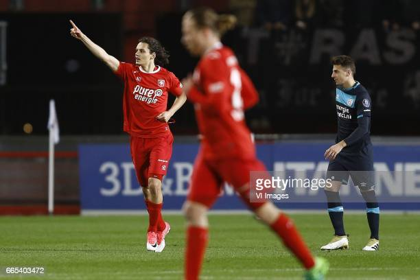 Enes Unal of FC Twente scored Santiago Arias of PSV Eindhovenduring the Dutch Eredivisie match between PEC Zwolle and PSV at the MAC#179PARK stadion...