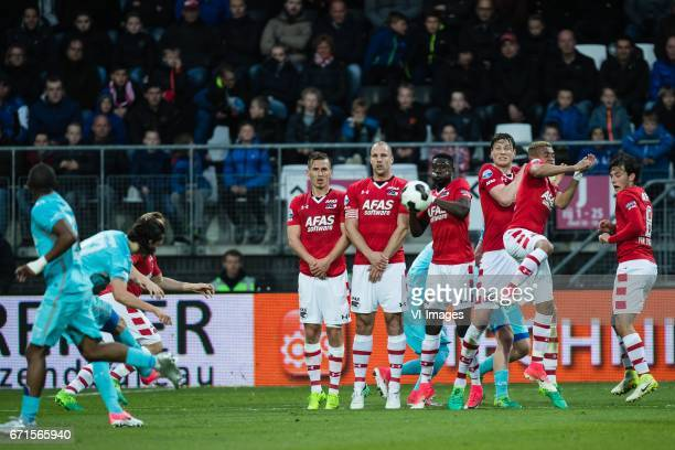 Enes Unal of FC Twente takes a free kickduring the Dutch Eredivisie match between AZ Alkmaar and FC Twente at AFAS stadium on April 22 2017 in...