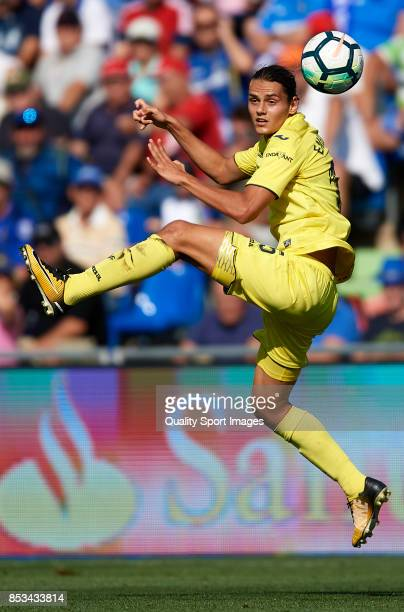 Enes Unal of Villarreal in action during the La Liga match between Getafe and Villarreal at Coliseum Alfonso Perez on September 24 2017 in Getafe...