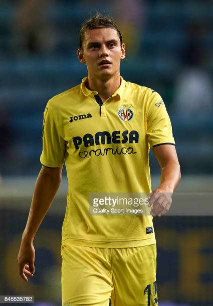 Enes Unal of Villarreal looks on during the La Liga match between Villarreal CF and Real Betis at Estadio de la Ceramica on September 10 2017 in...