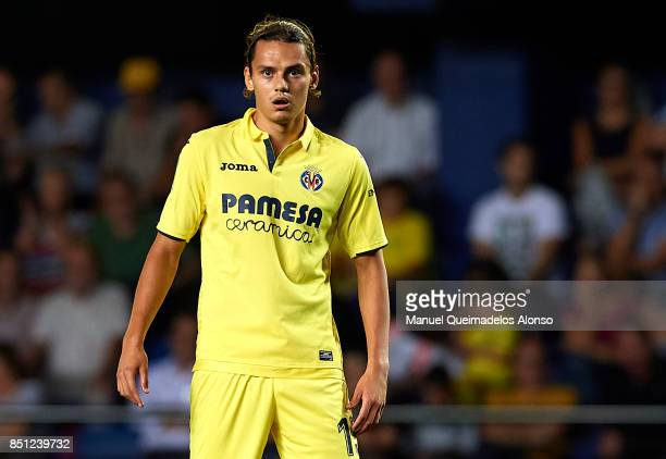 Enes Unal of Villarreal looks on during the La Liga match between Villarreal and Espanyol at Estadio De La Ceramica on September 21 2017 in...