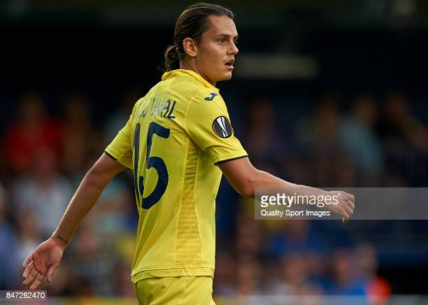 Enes Unal of Villarreal looks on during the UEFA Europa League group A match between Villarreal CF and FK Astana at Estadio de la Ceramica on...