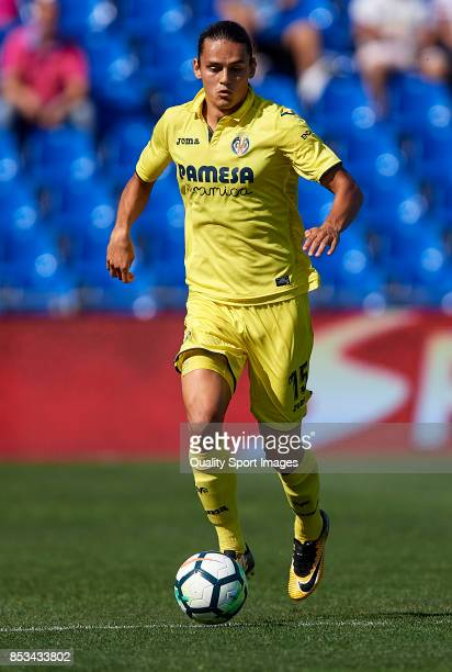 Enes Unal of Villarreal runs with the ball during the La Liga match between Getafe and Villarreal at Coliseum Alfonso Perez on September 24 2017 in...