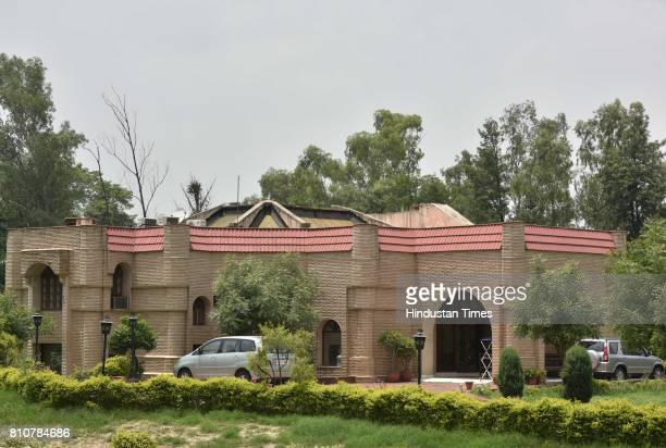 Enforcement Directorate conduct raids at RJD leader Lalu Prasad's daughter Misa Bharti's farmhouse at Sanik Farm residence on July 8 2017 in New...