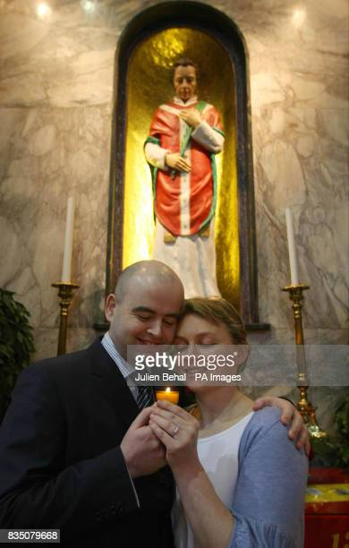 Engaged couple Deidre Moran from Castlebar Co Mayo and Stephen Long from Dunboyne Co Meath stand in Whitefriar Carmelite Church on Aungier Street...