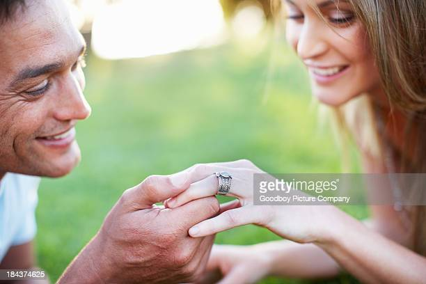 Engaged man and woman