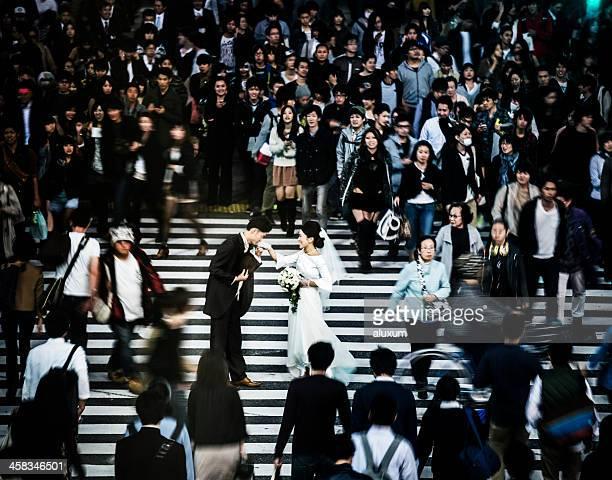 Engagement in Shibuya Crossing Tokyo Japan