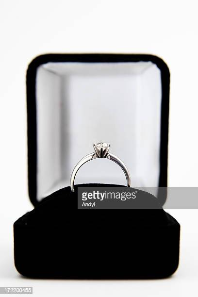 Engagement Ring in a Box Isolated on White