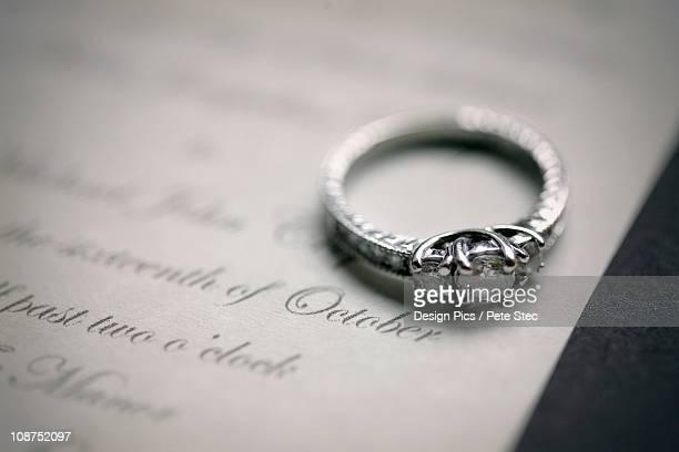 Engagement Ring On A Wedding Invitation
