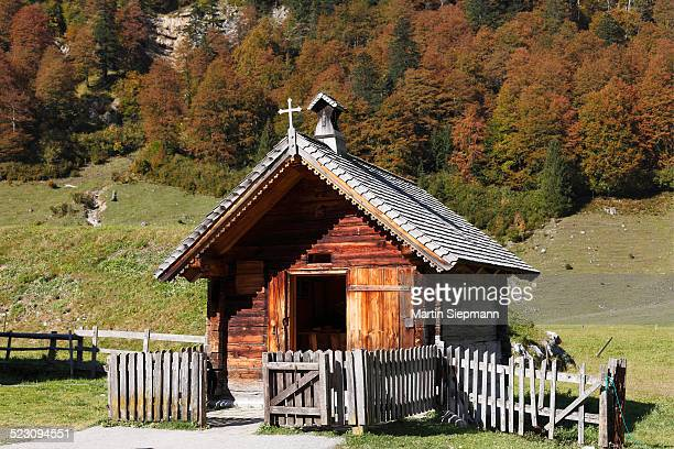 Eng-Alm, small chapel on mountain pasture, Grosser Ahornboden, pasture with maple trees, Risstal, Karwendel Mountains, Tyrol, Austria, Europe, PublicGround