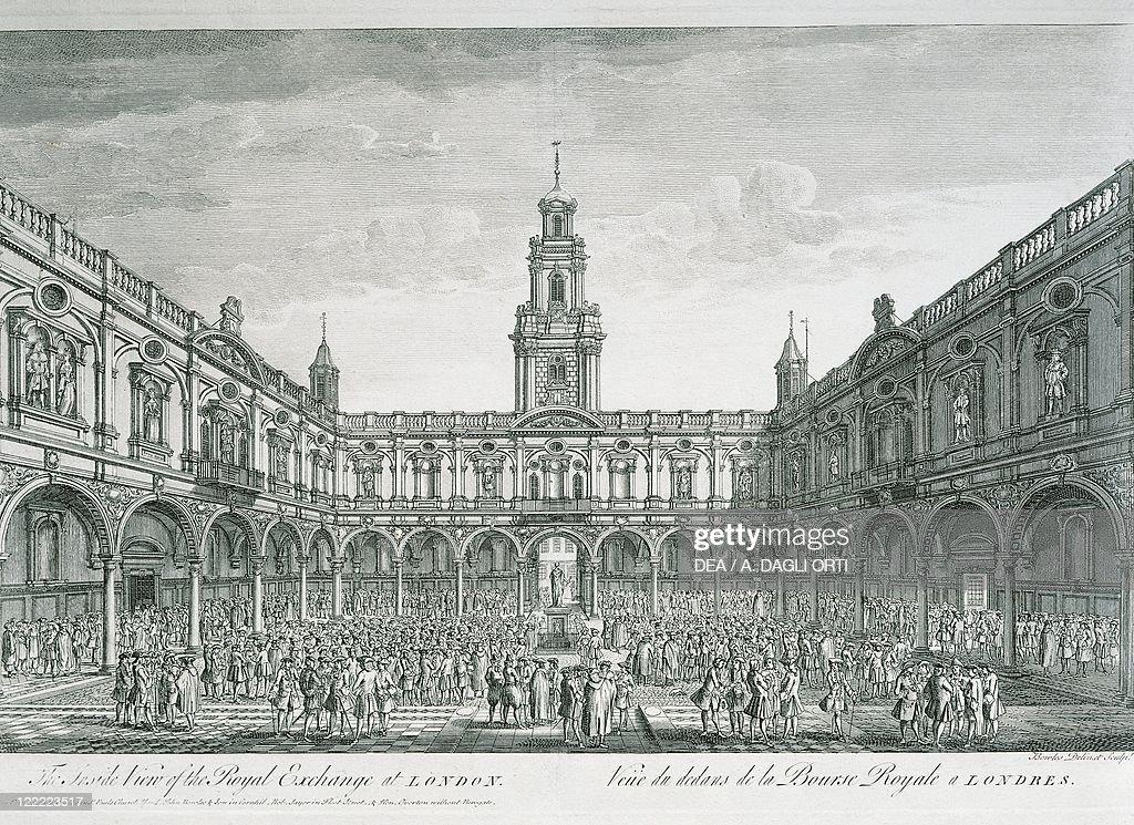 Engalnd 18th century London Stock Exchange Square Engraving