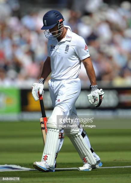 Engalnd's Andrew Strauss walks off dejected after losing his wicket to South Africa's Morne Morkel during the Third Investec Test Match at Lord's...