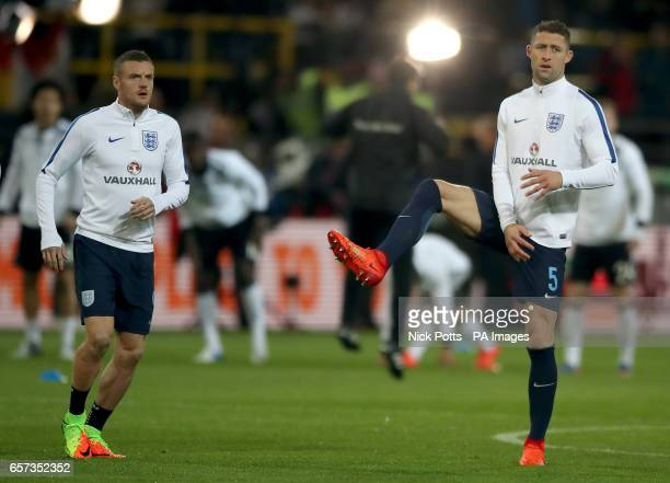 Engalnd's Jamie Vardy and Gary Cahill
