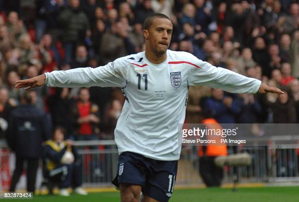 Engalnd's Wayne Routledge celebrates scoring his side's second goal of the game