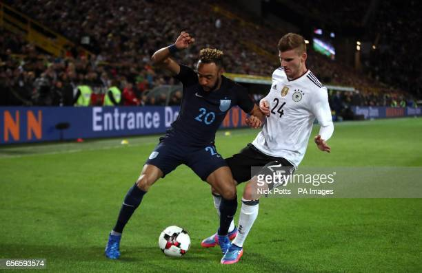 Engand's Nathan Redmond and Germany's Timo Werner battle for the ball during the International Friendly match at Signal Iduna Park Dortmund