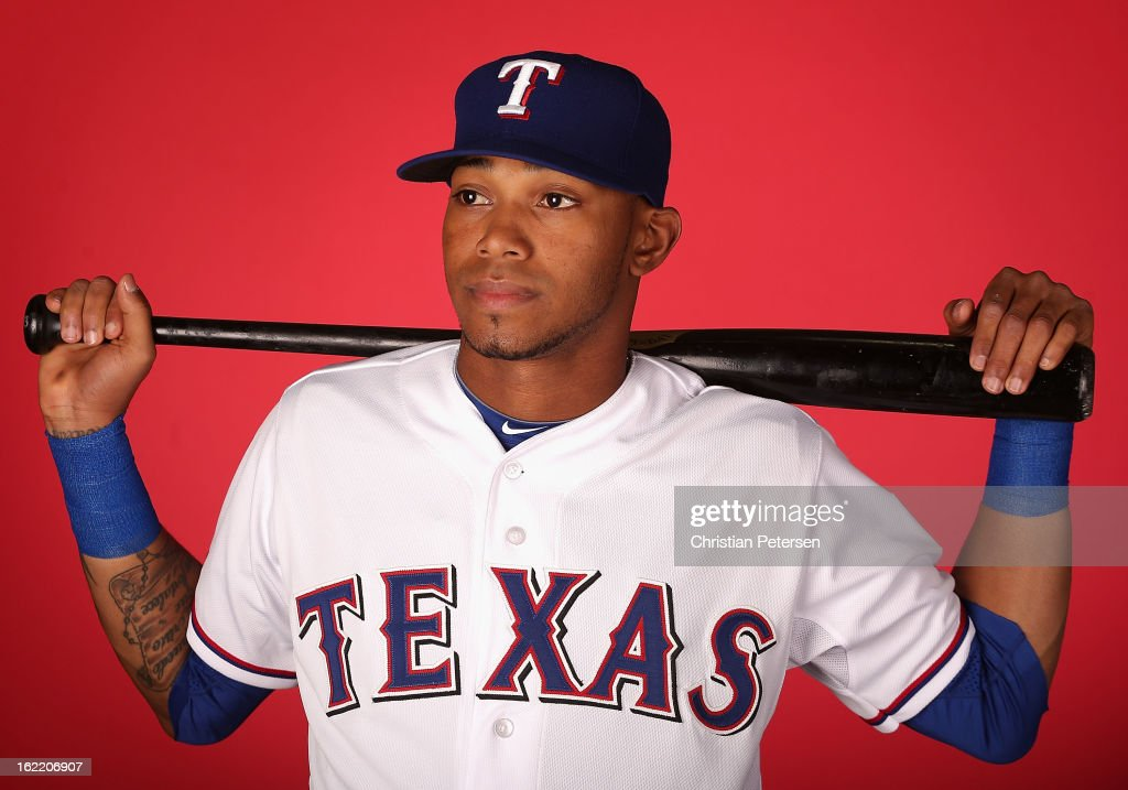 Engel Beltre #43 of the Texas Rangers poses for a portrait during spring training photo day at Surprise Stadium on February 20, 2013 in Surprise, Arizona.