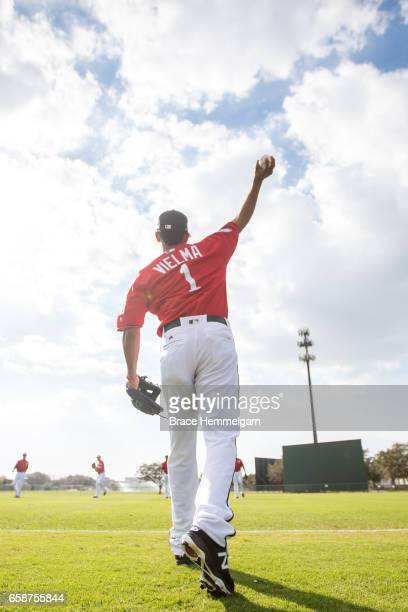 Engelb Vielma of the Minnesota Twins throws prior to a game against the Tampa Bay Rays on February 24 2017 at the CenturyLink Sports Complex in Fort...