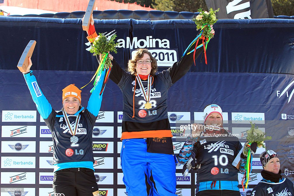 Engeli Hilde-Katrine of Norway takes 1st place, <a gi-track='captionPersonalityLinkClicked' href=/galleries/search?phrase=Nicolien+Sauerbreij&family=editorial&specificpeople=869490 ng-click='$event.stopPropagation()'>Nicolien Sauerbreij</a> of the Netherlands, <a gi-track='captionPersonalityLinkClicked' href=/galleries/search?phrase=Claudia+Riegler+-+Austrian+Snowboarder+-+Born+1973&family=editorial&specificpeople=12458153 ng-click='$event.stopPropagation()'>Claudia Riegler</a> of Austria takes 3rd place during the FIS Snowboard World Championships Men's and Women's Parallel Slalom on January 22, 2011 in La Molina, Spain.