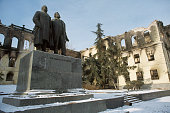 Engels and Marx Statue in Ruins of Tbilisi