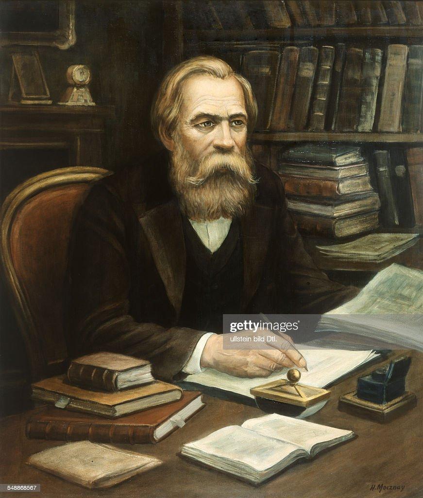 Engels Friedrich Politician Socialist Germany *2811182005081895 Portrait painting by Mocznay 1870 Vintage property of ullstein bild