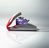 Engine and racing stripes in computer mouse